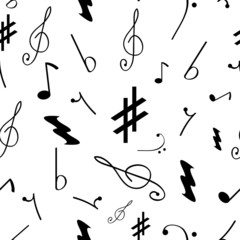 Seamless pattern with various music symbols