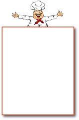 Illustration of a chef presenting a blank menu