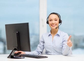 female helpline operator showing thumbs up