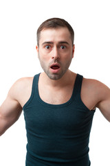 Mature surprised man with open mouth