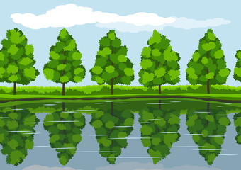 Pattern of summer landscape  with trees on water