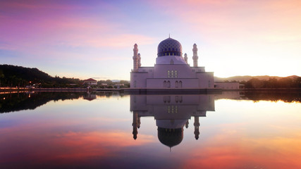mirror reflection of the majestic mosque in kota kinabalu sabah