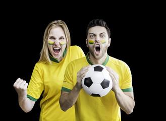 Brazilian fans celebrate on black background