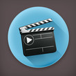 Movie clap, long shadow vector icon