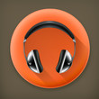 Head phones, long shadow vector icon