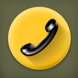 Handset, long shadow vector icon