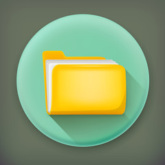 Folder, long shadow vector icon