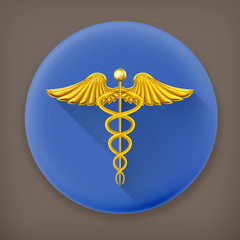Golden Caduceus, long shadow vector icon