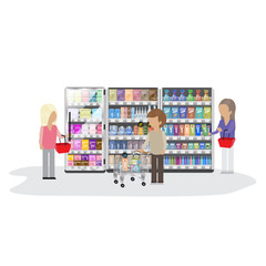 eople In Supermarket - Isolated On White Background