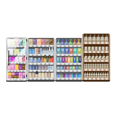 Supermarket Refrigerator And Shelves Set