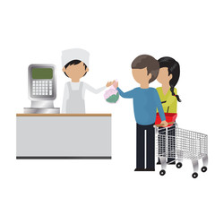 People In Supermarket At Weight Scale