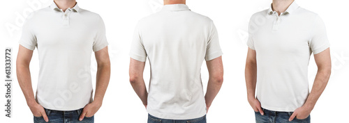 three man in white polo t-shirt