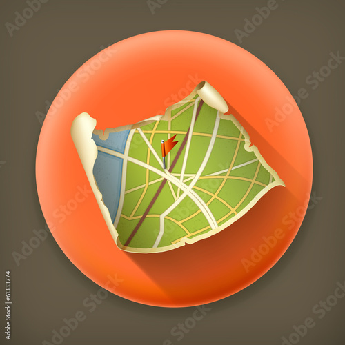 Map Old, long shadow vector icon