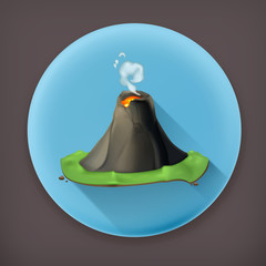 Volcano, long shadow vector icon