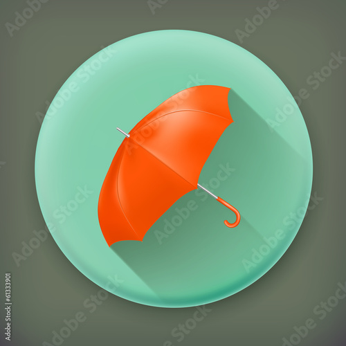 Umbrella, long shadow vector icon