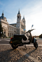 Italian scooter in Santa Maria la Real de La Almudena cathedral