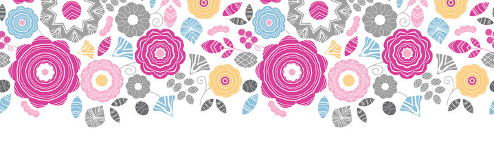 Vector vibrant floral scaterred horizontal seamless pattern