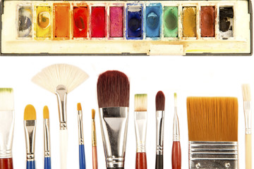 Paint brushes and the water colors