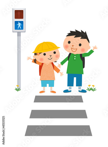 横断歩道と小学生