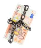 Euro currency with chain for security and investment