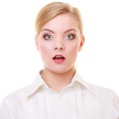 Surprised astonished business woman face over white