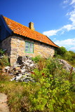 stack of firewood at house on Christiansoe Bornholm