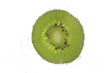 canvas print picture slice of kiwi in carbonated water isolated on white
