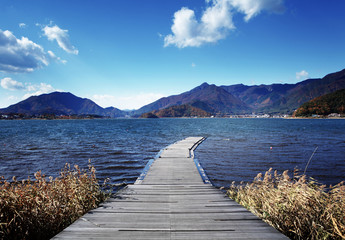 Wooden path to lake