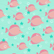 Colorful pink fishes seamless vector background
