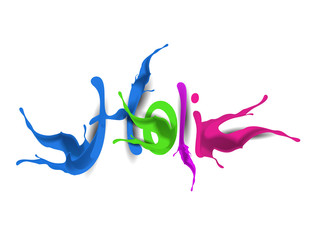 Happy Holi celebrations with paint splash colorful text