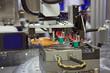 Leinwanddruck Bild - Injection moulding machine  of plastic parts
