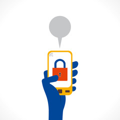 security or lock symbol is display in mobile concept vector