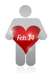 icon holding a valentine heart. illustration