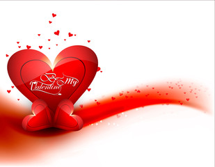 Valentine's day card background for colorful shiny heart vector