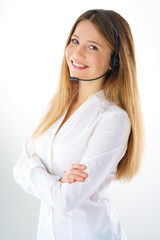 smiling woman phone operator