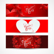 Valentine's day banners or headers set colorful vector design