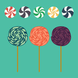 Cute cartoon lollipops and caramel candies in flat style
