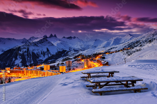 Famous ski resort in the Alps,Les Sybelles,France
