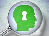 Information concept: Head With Keyhole with optical glass on