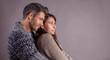 embracing romantic couple
