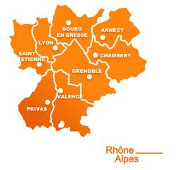 rhône alpes région départements et villes