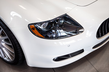 white car headlights