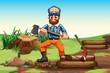 A lumberjack chopping woods
