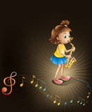 A talented young girl with a saxophone