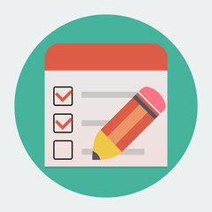 Flat checklist with pen icon