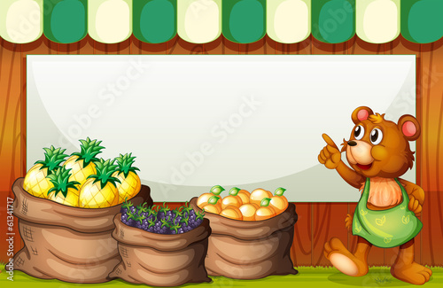 An empty template with a bear selling fruits
