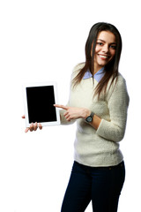businesswoman showing tablet computer screen