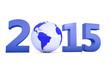 Weltkugel mit Jahr 2015 als Zahl