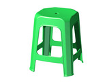 3D plastic stool chair, perspective view, Green color