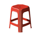 3D plastic stool chair, perspective view, Red color